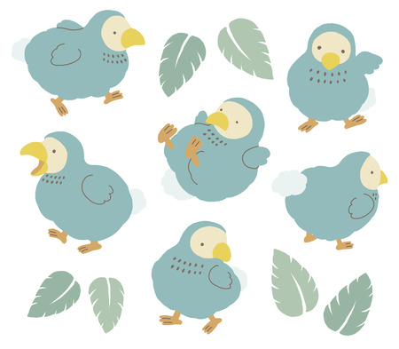 Set of cute Dodo bird illustration