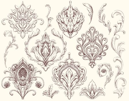Set of Decorative Ornamental Drawing