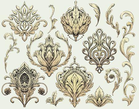 Set of Decorative Ornamental Drawing