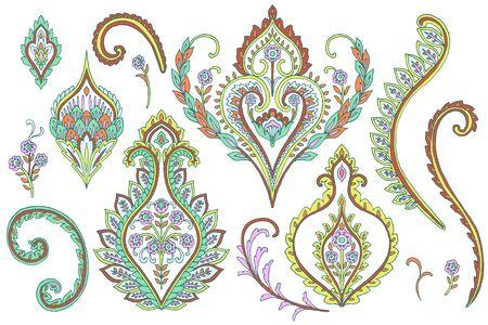 Paisley Style Elements: Set Stock Photo