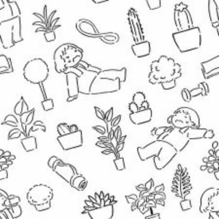 Cute work out Pattern, Illustration vector