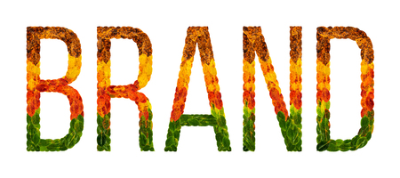 Brand word is written with leaves white isolated background, banner for printing, creative illustration brand colored leaves.