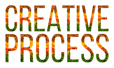 creative process word is written with leaves white isolated background, banner for printing, creative illustration of colored leaves creative process.