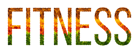 fitness word is written with leaves white isolated background, banner for printing, creative illustration fitness colored leaves.
