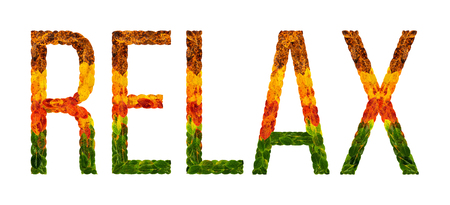 relax word is written with leaves white isolated background, banner for printing, creative illustration relax colored leaves.