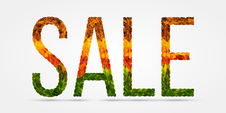 sale word is written with leaves white isolated background, banner for printing, creative illustration sale colored leaves.