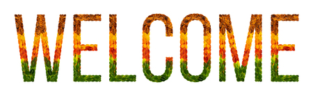 welcome word is written with leaves white isolated background, banner for printing, creative illustration welcome colored leaves.