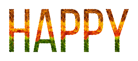 happy word is written with leaves white isolated background, banner for printing, creative illustration happy colored leaves. Stock Photo