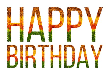 Feliz Cumpleaños Palabra Está Escrita Con Hojas De Fondo Blanco ...
