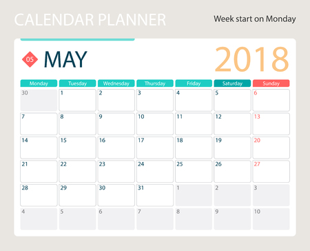 MAY 2018, illustration vector calendar or desk planner, weeks start on Monday, size of paper for printing A4.