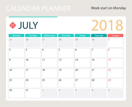 JULY 2018, illustration vector calendar or desk planner, weeks start on Monday, size of paper for printing A4.  イラスト・ベクター素材