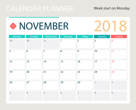 NOVEMBER 2018, illustration vector calendar or desk planner, weeks start on Monday, size of paper for printing A4.