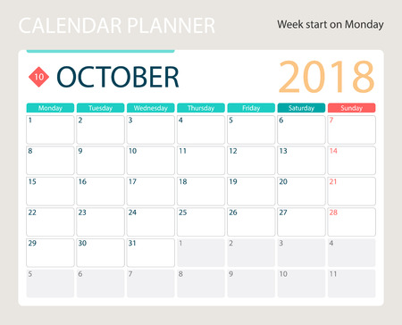 OCTOBER 2018, illustration vector calendar or desk planner, weeks start on Monday, size of paper for printing A4.  イラスト・ベクター素材