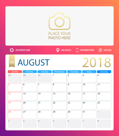 AUGUST 2018, illustration vector calendar or desk planner, weeks start on Sunday, size of paper for printing A4. Purple pink color.
