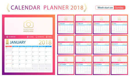 2018 Calendar Planner Week Start On Sunday Set Of 12 Months
