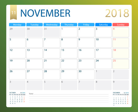 NOVEMBER 2018 calendar illustration.