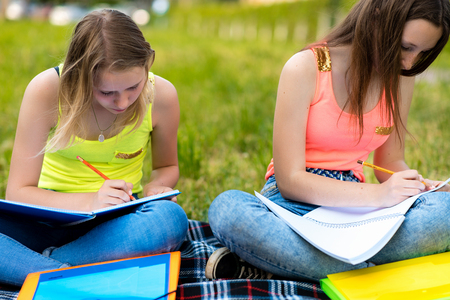 Two girls schoolgirl. Summer in nature. He rests after the institute. They write notes in a notebook. The concept of school classes in nature. Emotion concentration of attention. Stock Photo - 104512020