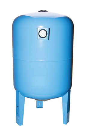Blue color, hydroaccumulator water tank. Isolate white background. Pressure meter. View side front. Automatic water supply station. Application private homes, country house, village, cottage.
