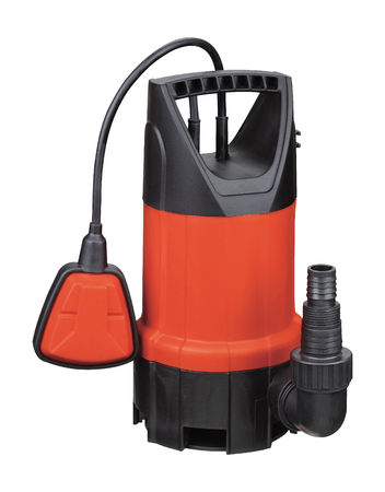 Plastic orange drainage pump pumping water, with automatic shut-off float, isolated white background. Flooded premises pits wells, basements. Application homes, country house, village, cottage.