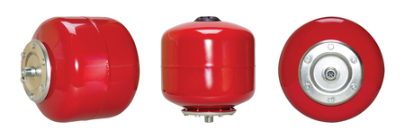 Red ekspochny systems of heating tank cold hot water. Isolate white background. Set three. View side front. Automatic water supply station. Application private homes, country house, village cottage.