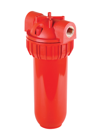 Filter flask red, plastic main for hot water. Isolated white background. To improve quality water sources, with water pressure not more than 8 bar. For mechanical cartridges and water treatment.