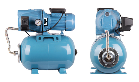 Pumping station water supply, household automatic station, relay hose. Isolate white background. Iron pump casing, pressure sensor. Blue color. Application homes, country house, village, cottage
