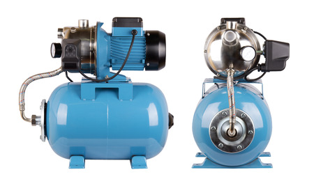 Station automatic water supply, relay hoses wire. Isolate on white background. Steel pump housing, pressure sensor. Blue color station. Application in private homes, country house, village, cottage.