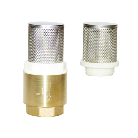 Check Strainer Valve Small metal mesh, protection water from debris impurities, Copper fitting of metal, isolate on white background, quarter inches with turnkey thread. One inch, half quarter size. Banque d'images