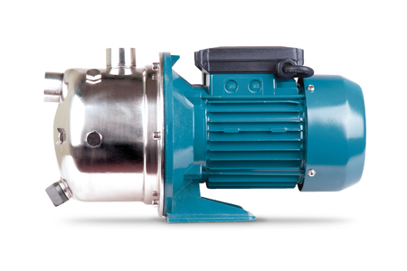 Blue pump to supply water to station water supply. Isolated white background. Steel body of pump, pressure sensor. Blue color station. Application private homes, country house, village, cottage.