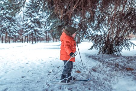 Little boy is 3-4 years old winter childrens skis first steps skis, active image of children. Background snow drifts trees. Free space learning sport young children happy childhood fresh air nature. Фото со стока