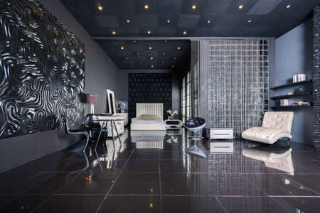 Modern dark luxury black interior with white chic furniture