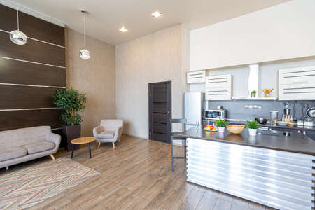 Contemporary ordinary design of spacious studio in soft warm colors. Simple furniture. Light large room with sunlight. Daytime. Tiled brown floor and white walls.