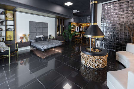 dark modern stylish male apartment interior with lighting, decorative walls, fireplace, dressing area and huge window