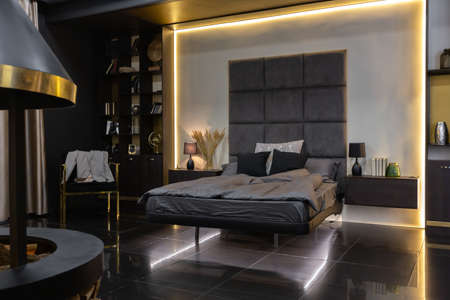 dark modern stylish male apartment interior with lighting, decorative walls, fireplace, dressing area and huge window Stock Photo