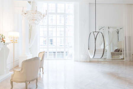 modern light clean rich baroque style interior with swing