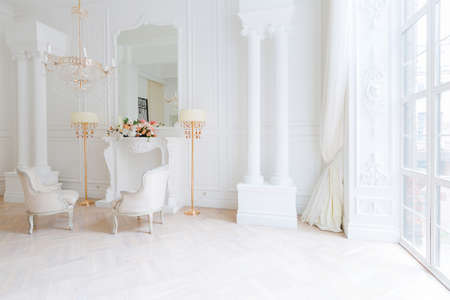 modern light clean rich baroque style interior with swing Banco de Imagens