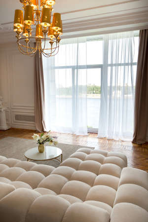 modern interior of a luxurious large bright living room. white expensive sofa and wooden shelving, white walls with moldings and a luxurious chandelier