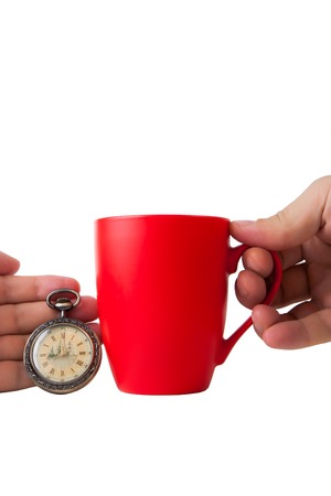 second breakfast: vintage   clock and  red  cup on white background. isolated