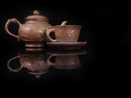 Clay, hand made set for the Chinese tea ceremony.