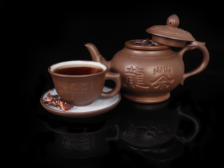 chinese tea ceremony: Clay, hand made set for the Chinese tea ceremony.