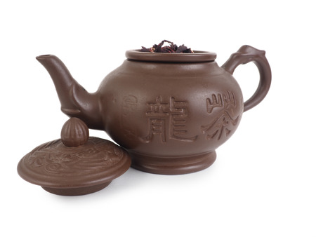 chinese teapot: clay chinese teapot, isolated on white background, Stock Photo