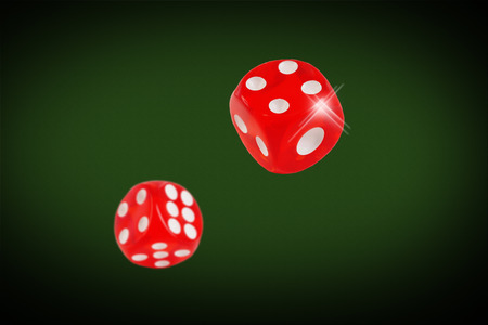 casino table: Red dice fall on the casino table. concept.
