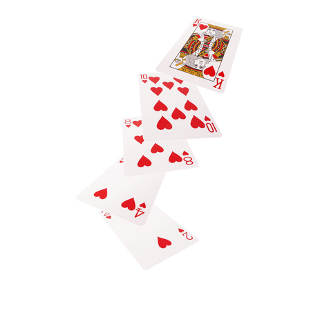 flush: Close up of falling  playing cards. Flush.