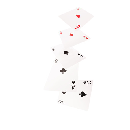 kind of: Close up of falling  playing cards. Four of kind.