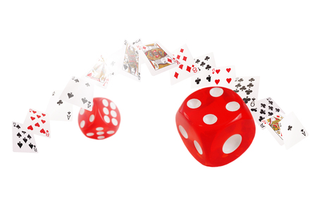 bonanza: Playing cards and dice flying  on white background.