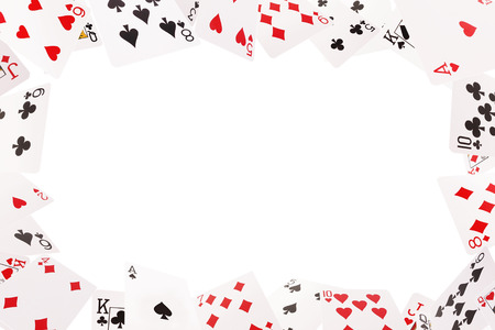 Frame of playing cards on a white background,
