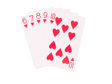 flush: Straight Flush playing cards isolated on white background. casino concept Stock Photo