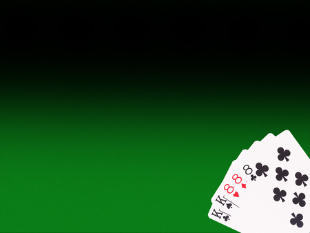 full house: Full House playing cards on the poker table. casino concept