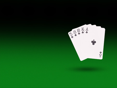 flush: flush playing cards on the poker table. casino concept