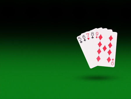 Straight Playing Cards On The Poker Table Casino Concept Stock
